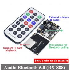 Аудио модуль приемник RX-888 Bluetooth 5.0, DC 3.7-5В, AUX microSD + Пульт ДУ