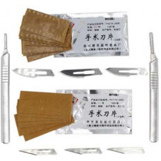 Нож, скальпель +10 шт сменных лезвий (нержавеющий сталь) №23
