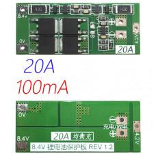 BMS контролер заряду / розряду, плата захисту 2S Li-ion 7.4 ... 8.4V 20A З Балансом