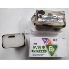 Акумулятор Li-Ion Крона 9V (6F22) NICJOY 850mAh с зарядкой от USB microUSB 5V