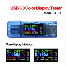 USB-тестер для измерения ёмкости,тока,времени 4-30V 4A (AT34) USB 3.0